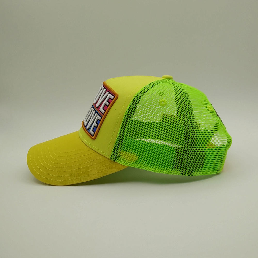 5 panel yellow trucker cap with words of
