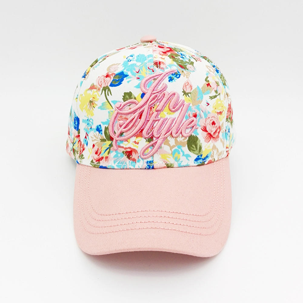 pink baseball hat with flowers printing and 3D embroidery for girl