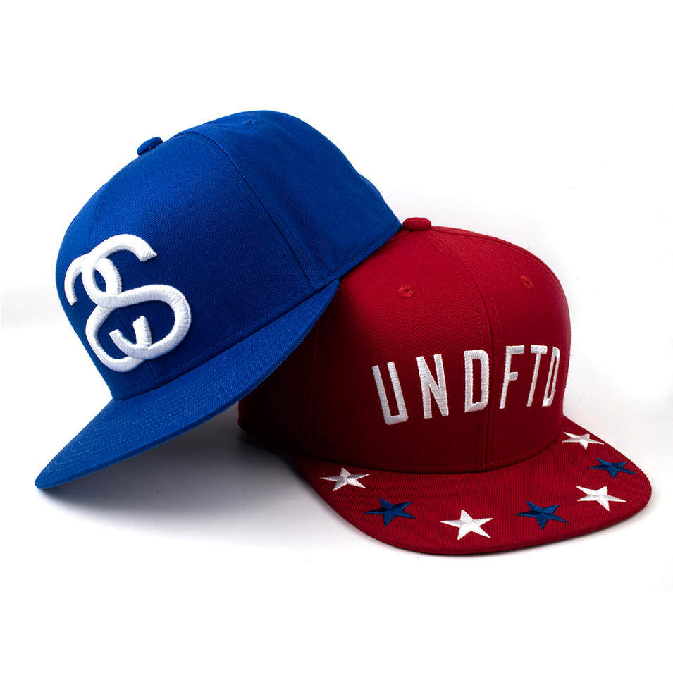 6 panel snapback hat red and blue with 3D embroidery of wool acrylic for man