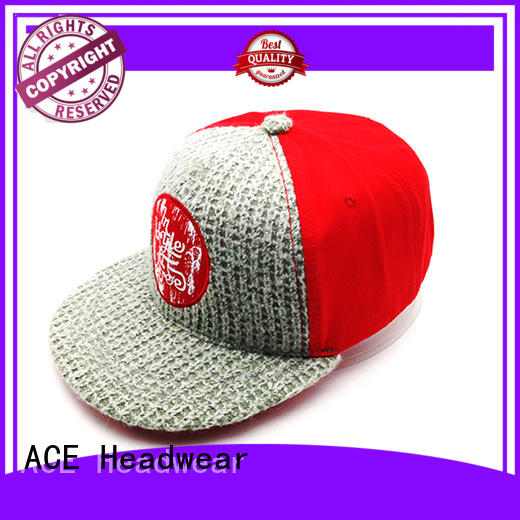 ACE durable purple snapback hat print for fashion