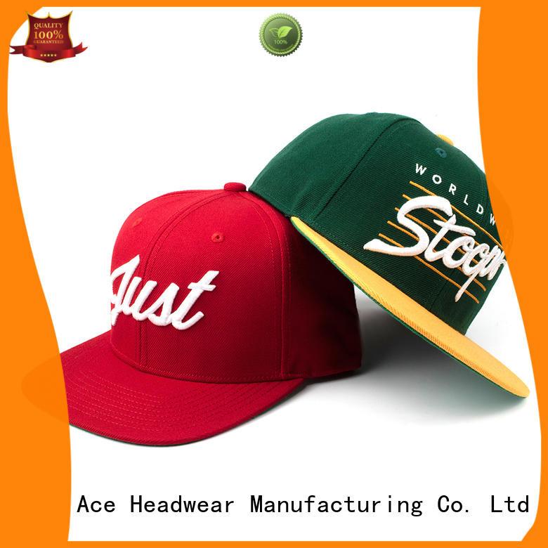 ACE solid mesh black snapback hat OEM for fashion