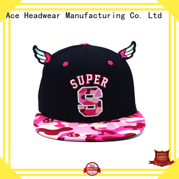 ACE white personalised snapback caps bulk production for fashion