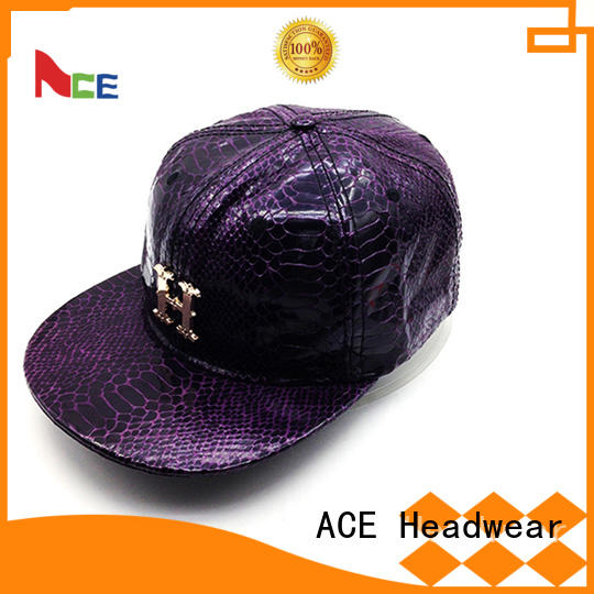 ACE print purple snapback hat supplier for fashion
