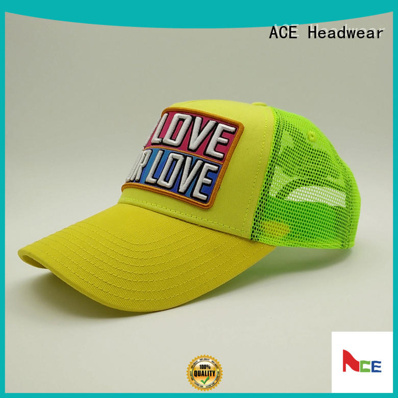ACE solid mesh yellow trucker cap curved for beauty