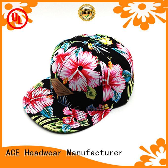 ACE fabric black snapback cap customization for fashion