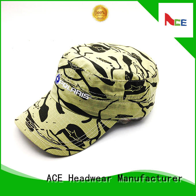 ACE printing mens military cap free sample for beauty