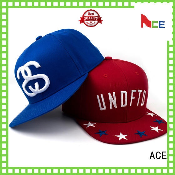 ACE Breathable black snapback cap for wholesale for fashion